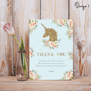 Aspire Designs Personalised Glittery Unicorn Kids Birthday Party Thank You Cards 10 / Yes / Design 2