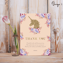 Load image into Gallery viewer, Aspire Designs Personalised Glittery Unicorn Kids Birthday Party Thank You Cards 10 / Yes / Design 3