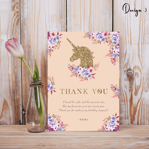 Aspire Designs Personalised Glittery Unicorn Kids Birthday Party Thank You Cards 10 / Yes / Design 3