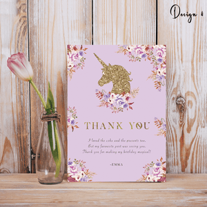 Aspire Designs Personalised Glittery Unicorn Kids Birthday Party Thank You Cards 10 / Yes / Design 4