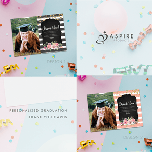 Aspire Designs Personalised Graduation Party Thank You Cards with Photo + Envelope