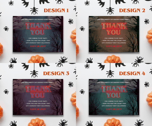Aspire Designs Personalised Halloween Party Thank You Cards | Stranger Things Inspired