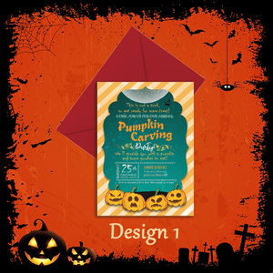 Aspire Designs Personalised Halloween Pumpkin Carving Party Invitations 10 / Yes / Design 1