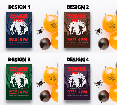 Aspire Designs Personalised Halloween Zombie Party Invitations
