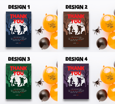 Aspire Designs Personalised Halloween Zombie Party Thank You Cards