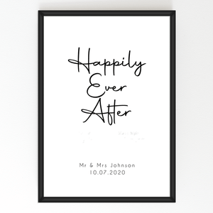 Aspire Designs Personalised 'Happily Ever After' Print with Frame | Wedding Anniversary Gift