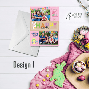 Aspire Designs Personalised Happy Easter Postcard with Photos | Flat Greeting Cards 10 / Yes / Design 1