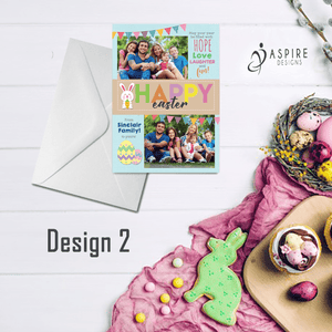 Aspire Designs Personalised Happy Easter Postcard with Photos | Flat Greeting Cards 10 / Yes / Design 2