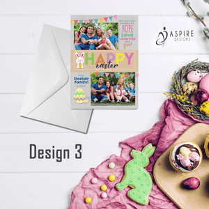 Aspire Designs Personalised Happy Easter Postcard with Photos | Flat Greeting Cards 10 / Yes / Design 3