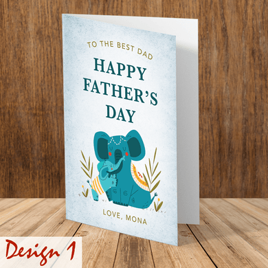 Aspire Designs Personalised Happy Father's Day Greeting Card | Cute Daddy and Child Animal Designs
