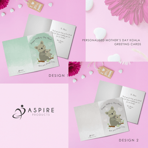Aspire Designs Personalised Happy Mother's Day Koala Greeting Card Design | Mother's Day Card