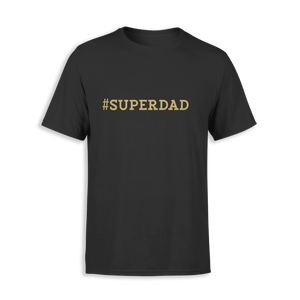 Aspire Designs Personalised #Hastag Superdad T-shirt | Men's Statement Slogan T-shirt Black