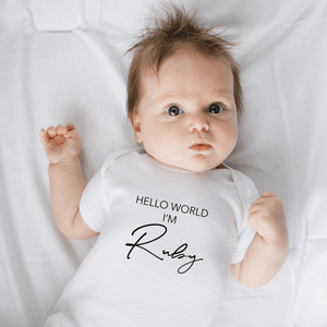 Aspire Designs Personalised 'Hello World..' Baby Grow Bodysuit Vest | Boy or Girl Unisex Gift