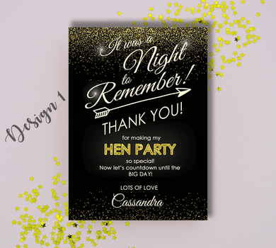 Aspire Designs Personalised Hen Doo Party Thank You Cards with Envelopes 10 / Yes / Design 1