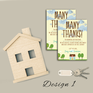 Aspire Designs Personalised Housewarming Thank You Cards | House Warming Gift Thanks 10 / Yes / Design 1