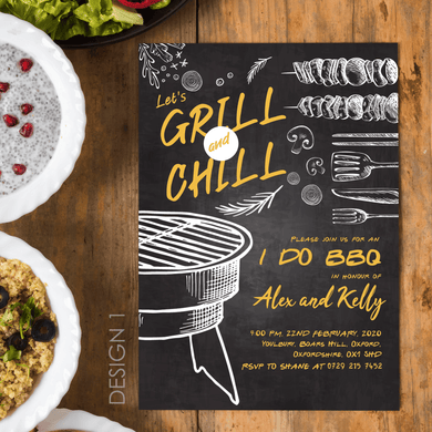 Aspire Designs Personalised I Do BBQ Engagement Party Celebration Invitation & Thank You Card