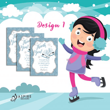 Load image into Gallery viewer, Aspire Designs Personalised Ice Skating Birthday Party Thank You Cards 10 / Yes / Design 1