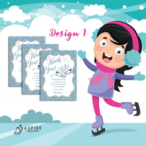 Aspire Designs Personalised Ice Skating Birthday Party Thank You Cards 10 / Yes / Design 1