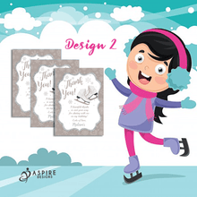 Load image into Gallery viewer, Aspire Designs Personalised Ice Skating Birthday Party Thank You Cards 10 / Yes / Design 2