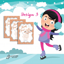 Load image into Gallery viewer, Aspire Designs Personalised Ice Skating Birthday Party Thank You Cards 10 / Yes / Design 3