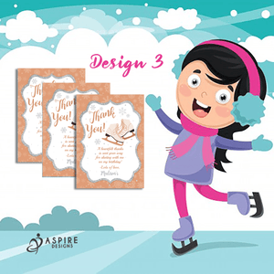 Aspire Designs Personalised Ice Skating Birthday Party Thank You Cards 10 / Yes / Design 3