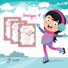 Load image into Gallery viewer, Aspire Designs Personalised Ice Skating Birthday Party Thank You Cards 10 / Yes / Design 4