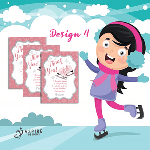 Aspire Designs Personalised Ice Skating Birthday Party Thank You Cards 10 / Yes / Design 4