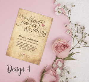 Aspire Designs Personalised In Our Hearts Forever Funeral Announcement Cards 10 / Yes