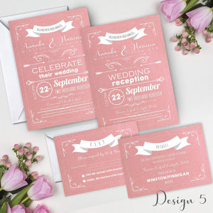 Aspire Designs Personalised Invitation Set | Day/Evening Invite, RSVP & Info Cards 10 / Yes / Invitation Only