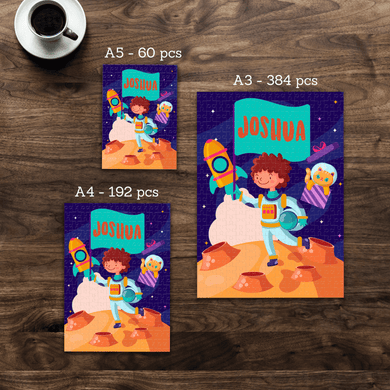 Aspire Designs Personalised Jigsaw Puzzle Astronaut Theme - A5 A4 A3 - 60, 192 or 384 pieces