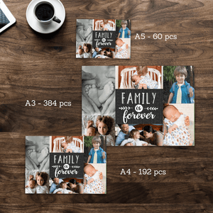 Aspire Designs Personalised Jigsaw Puzzle Family is Forever Photo - A5 A4 A3 - 60, 192 or 384 pieces