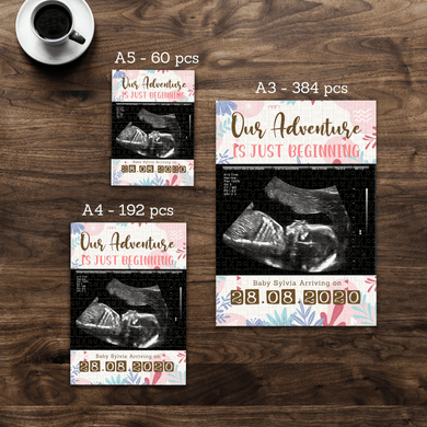 Aspire Designs Personalised Jigsaw Puzzle Gender Reveal Theme| A5 A4 A3 - 60, 192 or 384 pieces