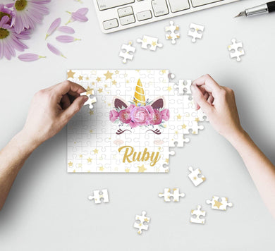 Aspire Designs Personalised Jigsaw Puzzle Magical Unicorn - A5 A4 A3 - 60, 192 or 384 pieces