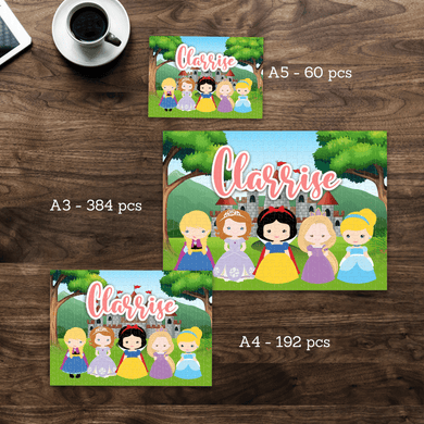 Aspire Designs Personalised Jigsaw Puzzle Princess Theme - A5 A4 A3 - 60, 192 or 384 pieces