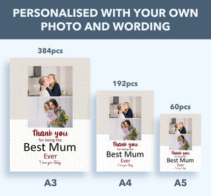 Aspire Designs Personalised Jigsaw Puzzle with Customised Box - Mothers Day Family Photo Gift Idea A5 (60 Pieces) / Yes please :)