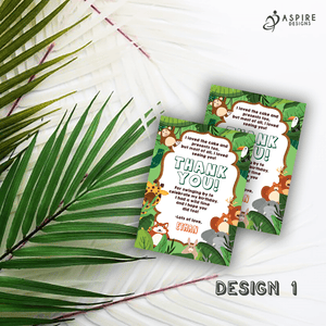 Aspire Designs Personalised Jungle Safari Animal Birthday Thank You Cards 10 / Yes / Design 1