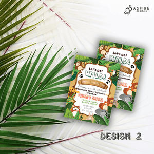Aspire Designs Personalised Jungle Safari Animal Kids Birthday Party Invitations 10 / Yes / Design 2
