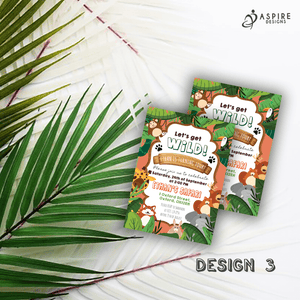 Aspire Designs Personalised Jungle Safari Animal Kids Birthday Party Invitations 10 / Yes / Design 3