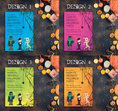 Aspire Designs Personalised Kids Birthday Halloween Party Invitations