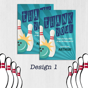 Aspire Designs Personalised Kids Bowling Birthday Party Thank You Cards 10 / Yes / Design 1