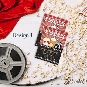 Aspire Designs Personalised Kids Cinema Movie Night Birthday Party Invitations 10 / Yes / Design 1