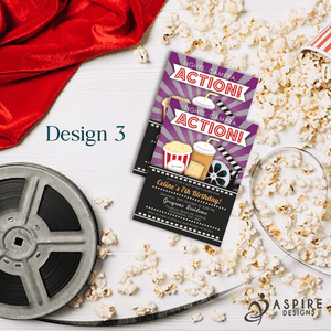 Aspire Designs Personalised Kids Cinema Movie Night Birthday Party Invitations 10 / Yes / Design 3