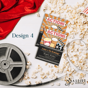 Aspire Designs Personalised Kids Cinema Movie Night Birthday Party Invitations 10 / Yes / Design 4