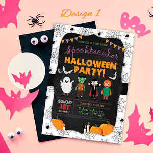 Aspire Designs Personalised Kids Halloween Invitations | Trick or Treat Party 10 / Yes / Design 1