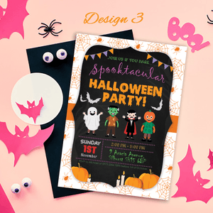 Aspire Designs Personalised Kids Halloween Invitations | Trick or Treat Party 10 / Yes / Design 3