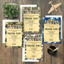 Load image into Gallery viewer, Aspire Designs Personalised Kids Lego Army Birthday Party Thank You Cards 10 / Yes / Design 1