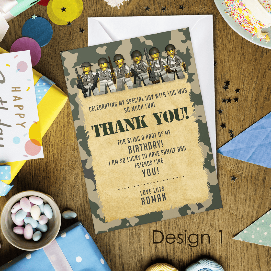Aspire Designs Personalised Kids Lego Army Birthday Party Thank You Cards 10 / Yes / Design 1