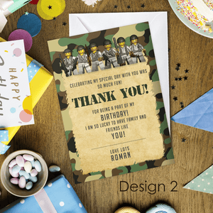 Aspire Designs Personalised Kids Lego Army Birthday Party Thank You Cards 10 / Yes / Design 2