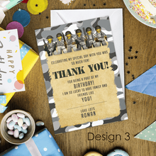 Load image into Gallery viewer, Aspire Designs Personalised Kids Lego Army Birthday Party Thank You Cards 10 / Yes / Design 3
