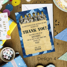 Load image into Gallery viewer, Aspire Designs Personalised Kids Lego Army Birthday Party Thank You Cards 10 / Yes / Design 4